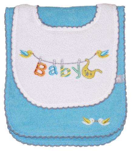 Baby Bib and Burp Cloth Set, Blue, Frenchie Mini Couture
