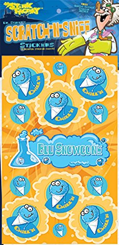Dr Stinky's BLUE SNOWCONE Scratch-and-Sniff Stickers, 2 sheets 4 x 6 3/4, 26 stickers