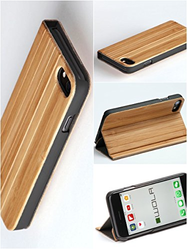"""WOLA cover a flip """"FORREST"""" per iPhone 7 in bambù naturale. Case elegante per Apple i-Phone 7, effetto legno."""