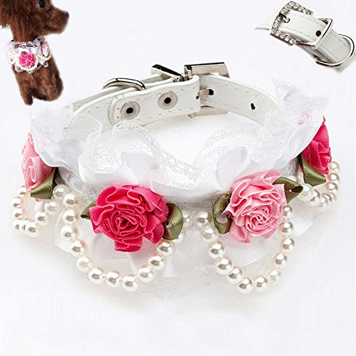 Bro'Bear PU Leather Adjustable Beaded Pet Necklace Dog Puppy & Cat Kitty Buckle Collar with 4 Strings of Pearls, Lace, Rhinestone & 4 Flowers for Small Animals Everyday Walking/Party/Holiday/Wedding/Birthday Accessories (White, Medium)