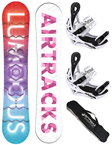 AIRTRACKS DAMEN SNOWBOARD SET / LUMINOUS LADY SNOWBOARD + BINDUNG SAVAGE W + SB BAG / 140 145 150 155 / cm