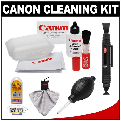 Canon Optical Lens and Digital SLR Camera Cleaning Kit with Brush, Microfiber Cloth, Fluid & Tissue + Accessory Kit for EOS 1Ds, 1Ds Mark II, III, IV, 40D, 50D, 60D, 5D, 7D, Rebel XT, XTi, XS, XSi, T1i & T2i