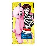 Fuson Teddy Girl Back Case Cover for SONY XPERIA Z - D4039