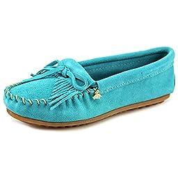 Minnetonka Women\'s Turquoise Suede Kilty Suede Moc 7.5 B(M) US