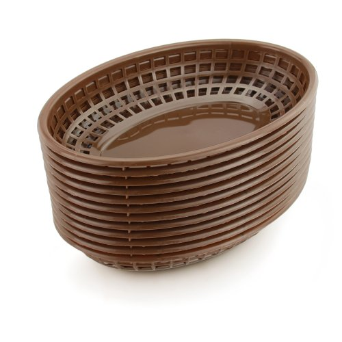 New Star 44102 Fast Food Baskets, 9.25 by 6-Inch, Brown, Set of 12