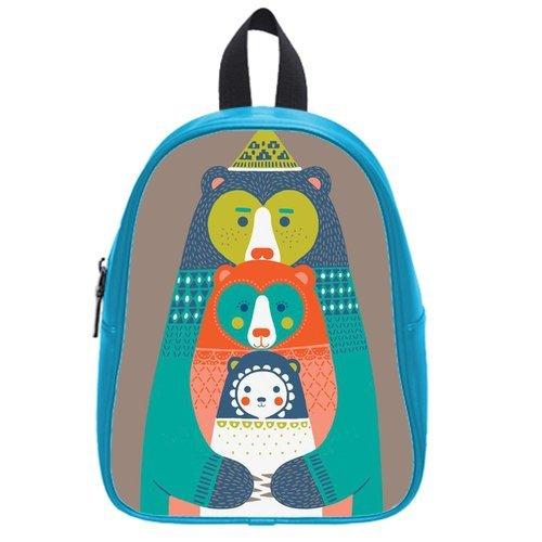 Generic Custom Cartoon Abstract Kangaroo Printed Deep Sky Blue School Bag Backpack Fit Short Trip Pu Leather Medium front-988719