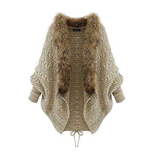 EXIU Womens Girls Batwing Knitted Sweater Faux Fur Collar Cardigan Coat
