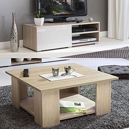 LIME mesa, 2 piezas, diseño de roble, color natural y blanco brillante