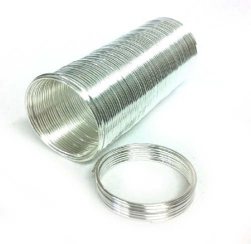 20mm Diameter 22 Gauge Silver Plated 65 Spools Memory Wire Ring 66168sp