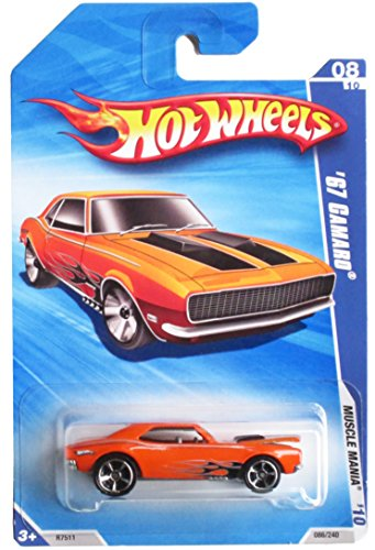 HOT WHEELS 2010 MUSCLE MANIA 08 OF 10 ORANGE '67 CAMARO (HOOD OPENS!!!)