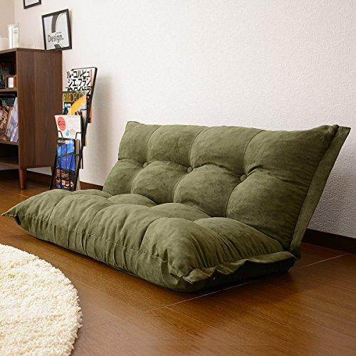 (DORIS) コンパクト ローソファ【リラックス カーキ】 座椅子より大きくソファーより小さいちょうどいいサイズ 背もたれ14段階リクライニング マイクロスエード調生地 横幅108cm