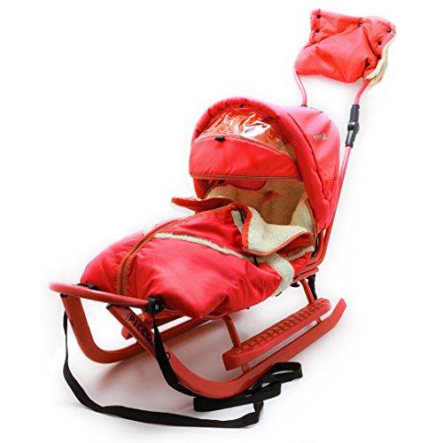 Baby Schlitten Piccolino DeLuxe Rot Kinderschlitten Rodel zum Schieben