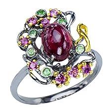 buy Beautiful Womens Natural Red Ruby Tsavorite Rhodolite Garnet Sterling Silver 925 Statement Jewelry Ring