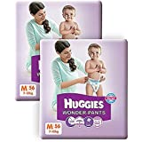 Huggies Wonder Pants Medium Size Diapers( 2 Packs, 56 Count)