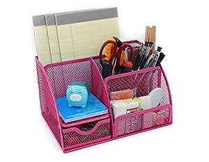 Mesh desk organizer office supplies caddy - Pink desk organizer ...