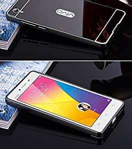IDEAL Mirror Back Cover Case with Acrylic Bumper Frame for Vivo Y51 / Y51L (BLACK)
