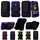 For Samsung Galaxy Rush M830 Cellularvilla 3pc Hard and Soft Purple Black Kickstand Case with Holster Clip. This Case Is Only for the Samsung Galaxy Rush M830 (Purple)