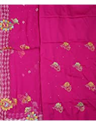 Exotic India Vivid-Viola Salwar Kameez Fabric With Ari Embroidered Flower - Pink