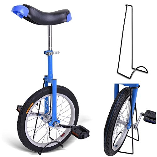 16-Inches-Wheel-Skid-Proof-Tread-Pattern-Unicycle-W-Stand-Uni-Cycle-Bike-Cycling-BLUE