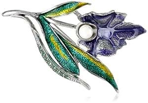 """Napier """"Giftable"""" Silver-Tone Purple Iris Flower Pin"""