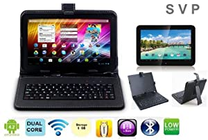 SVP ® 9 inch Dual Core Dual Camera Android 4.2 8GB storage Capacitive Touch Screen G-sensor A20 tablet With a Black keyboard case 3G WIFI HDMI from svp