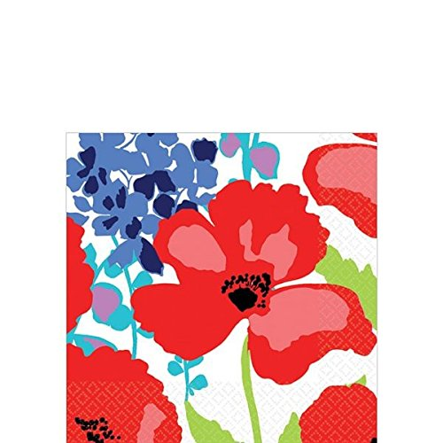 "Amscan Decorative Floral Explosion Party Beverage Paper Napkins (16 Pack), 5 x 5"", Multicolored"