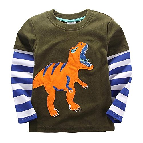 [IGO.]Long Sleeve Baby boys clothing infant toddler Dinosaur T-shirts CG25T2