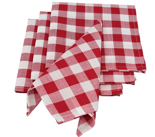 Xia Home Fashions Gingham Check Napkins, 20 By 20-Inch, Red, Set Of 4 front-399501