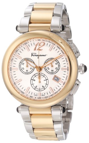 Ferragamo Women's F77LCQ9502 S095 Idillio Gold Ion-Plated Stainless Steel Silver Dial Two-Tone Bracelet Chronograph Watch