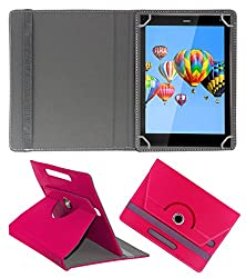 ACM ROTATING 360° LEATHER FLIP CASE FOR DIGIFLIP PRO XT811 TABLET STAND COVER HOLDER DARK PINK