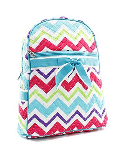 Rainbow Colored Chevron Print Backpack Bag Color: Aqua