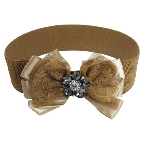 Ladies Lace Bowknot Flower Accent Elastic Waist Belt Strap Cinch