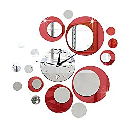 Happy Hours - Creative Wall Clocks / Home DIY Decoration Watch / Living Room Mirror Ball 3D Wall Design(Red)