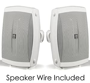"Yamaha All Weather Indoor & Outdoor Wall Mountable Natural Sound 130 watt 2-way Acoustic Suspension Speakers (Set of 2) White with 6.5"" High Compliance Woofer, 1"" PEI Dome Tweeter & Wide Frequency Response + 100 ft 16 Gauge Speaker Wire - Compatible with"