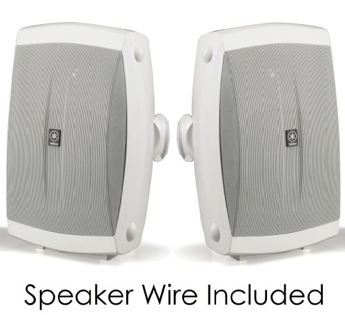 "Yamaha All Weather Indoor & Outdoor Wall Mountable Natural Sound 130 Watt 2-Way Acoustic Suspension Speakers (Set Of 2) White With 6.5"" High Compliance Woofer, 1"" Pei Dome Tweeter & Wide Frequency Response + 50 Ft 16 Gauge Speaker Wire - Compatible With A"