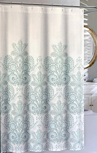 Nicole Miller Fabric Shower Curtain Aqua Blue Floral Medallion Pattern With Light Gray Highlights On White Arabesque