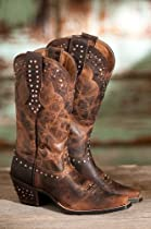Hot Sale Women's Ariat Rhinestone Leather Cowboy Boots, SASSY BROWN, Size 7