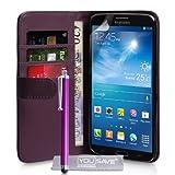 Prix Le Plus Bas Coque Samsung Galaxy Mega 6.3 Etui Pourpre PU Cuir Portefeuille Housse Avec Stylet