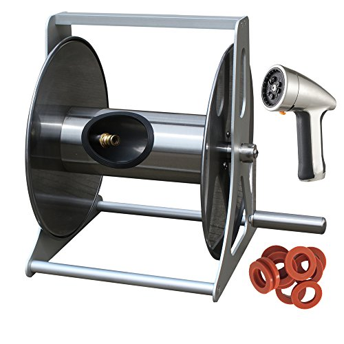 B03 Deluxe 3-in-1 Hose Reel: Stainless Garden Hose Reel with 200-Foot Hose Capacity 5'Inlet Hose, Brass Quick Connector, One-of-a-Kind Metal Hose Nozzle, Hose Washer 10-PC Pack (Stainless Steel Hose Reel compare prices)