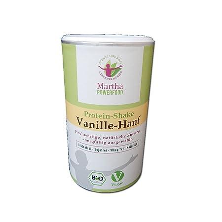 Martha veganer Bio Protein Shake Vanille-Hanf, mit Chia und Flohsamen, low carb, glutenfrei, ohne Whey, ohne Soja, ohne chemische Zusätze, ohne Industriezucker, gut sättigend, 450g