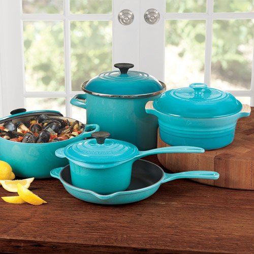 le creuset 9 piece cookware set caribbean 024147924609. Black Bedroom Furniture Sets. Home Design Ideas