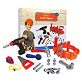 Click N Play 23 Piece Kids Pretend Play Real Working Toy Tool Set Includes Powered Drill, Hammer, Saw, Tape Measure...