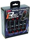 KYO-EI ( 協永産業 ) ホイールロック&ナット Racing Composite R40 iCONIX 【 M12 x P1.25 】 アルミキャップ付 【 ブラック/ブラック 】 RIA-13KK