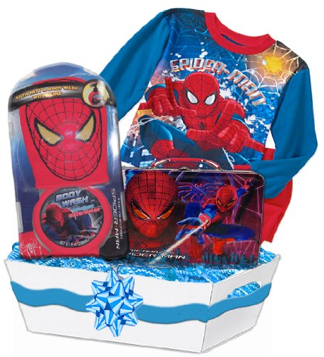 Spiderman Deluxe Gift Basket Featuring Spiderman Pajamas, Bath Toy Set, Spiderman Tin Lunch Box, Age: 5 - 1