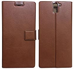 MACC Business Premium Faux Leather Flip Case Flip Cover for OnePlus One - with Stand , Magnetic Lock, Card & Currency Wallet - ( Cocoa Brown ) + Free Tempered Glass Screen Protector
