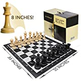 LifeSmart Large Roll Up Chessboard and Chess Set - 3 Feet by 3 Feet - 8-inch Tall King – Oversized Chess Board - An Ideal Gift for the Chess Lover