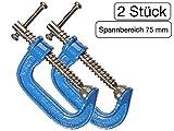 2 Stück C-Schraubzwinge 75mm leichte Bauart mit Stahl-Gewinde verchromt