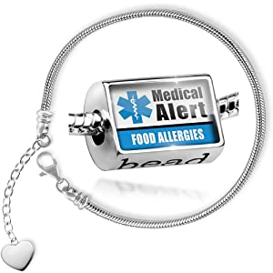 Charm Set Medical Alert Blue Food Allergies - Bead comes with Bracelet , Neonblond by NEONBLOND