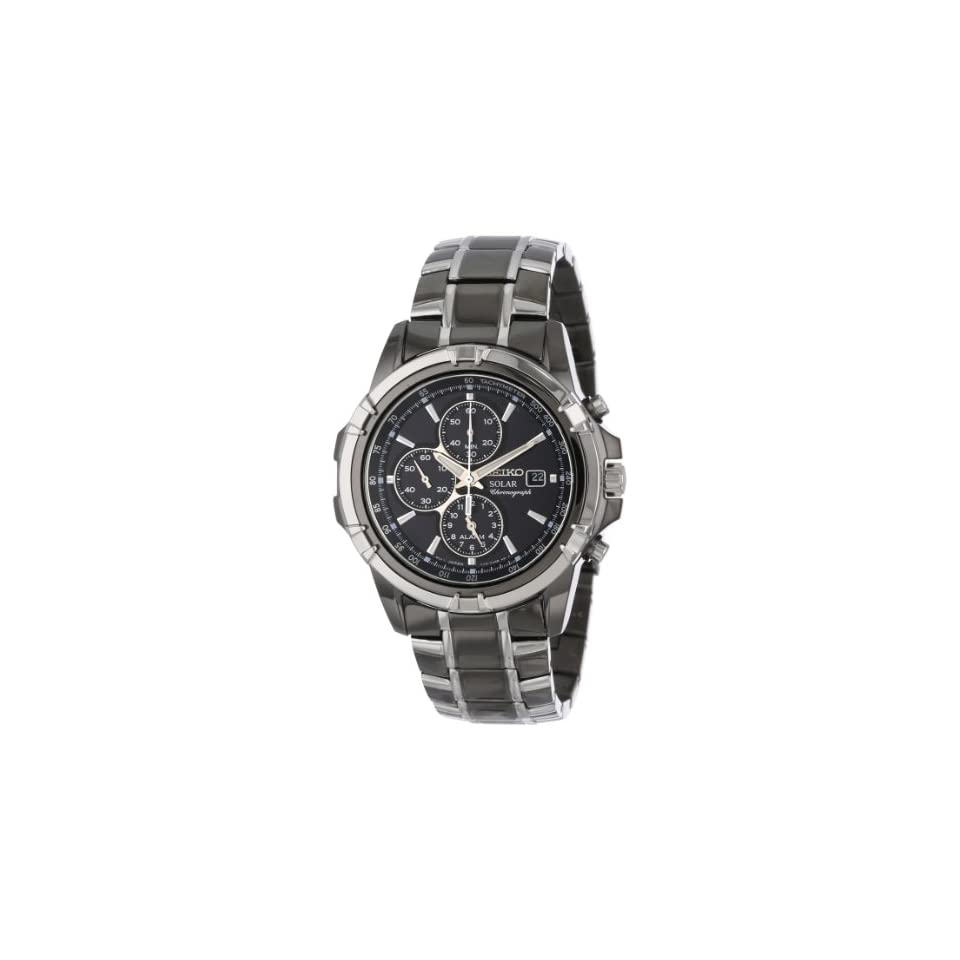 Seiko Mens SSC143 Stainless Steel Solar Watch with Link Bracelet