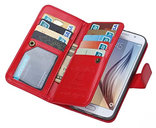 Dreams Mall(TM)New Hot 2 in 1 Premium PU Leather Wallet Purse Case Protection for Samsung Galaxy S6 with Flip Cover & Strap-Red